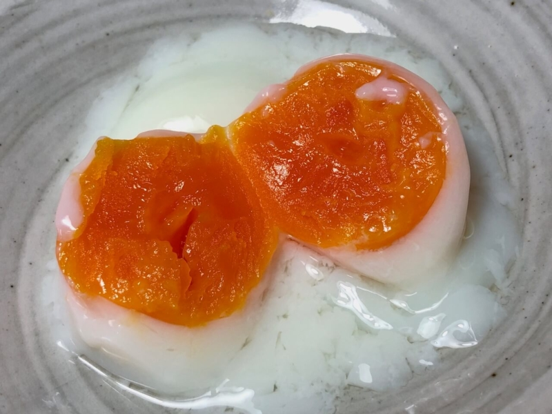 70℃で30分低温調理した卵2