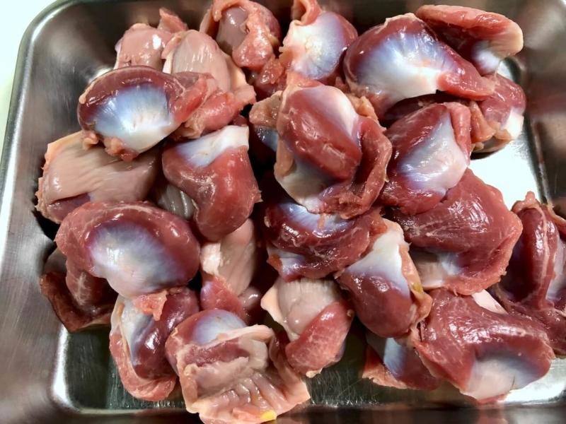 低温調理で鶏砂肝の温度比較55