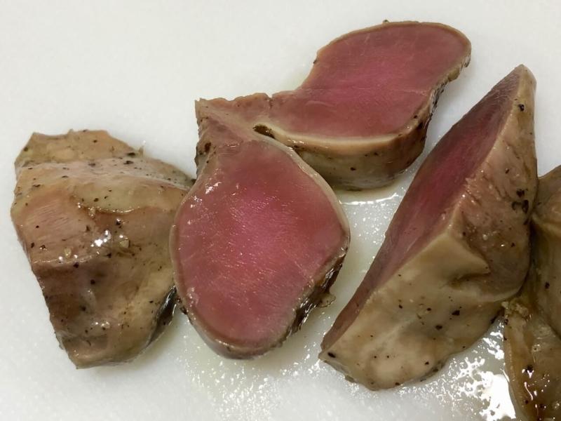 低温調理で鶏砂肝の温度比較37